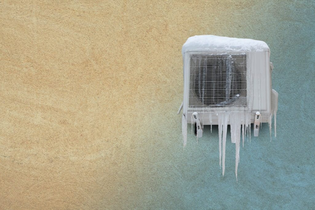 Ice-covered air conditioner.
