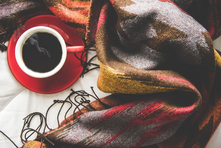 Coffee and blanket.