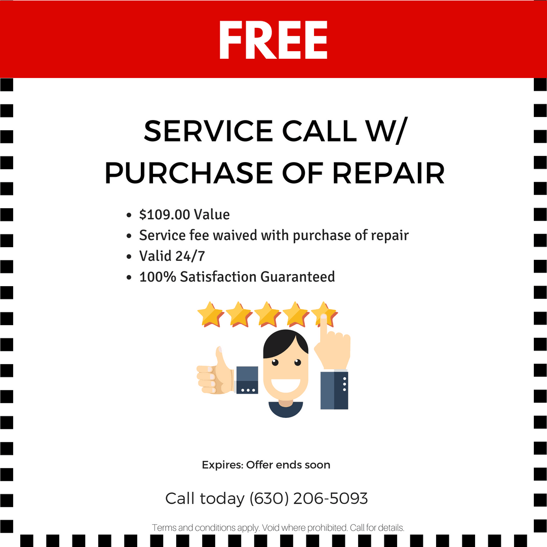 Free service call with purchase of repair.